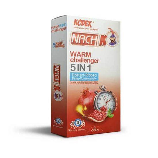 کاندوم تاخیری گرم کدکس مدل Warm Challenger 5in1 بسته 12 عددی