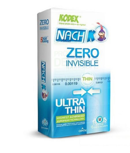 کاندوم نازک زیرو کدکس مدل Zero Invisible بسته 12 عددی