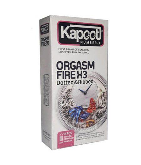 کاندوم خاردار و شیاردار کاپوت مدل Orgasm Fire X3 بسته 12 عددی