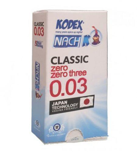 کاندوم ناچ کدکس مدل CLASSIC Zero Zero Three 0.03 بسته 12 عددی