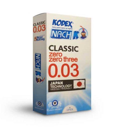 کاندوم نازک ناچ کدکس مدل CLASSIC Zero Zero Three 0.03 بسته 12 عددی