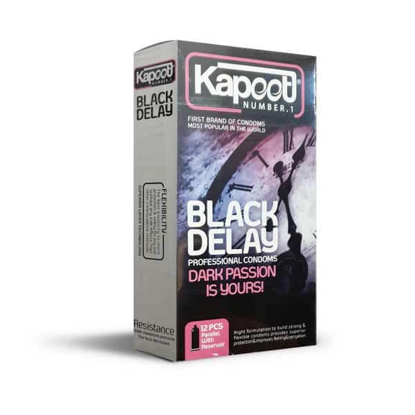 کاندوم تاخیری مشکی کاپوت مدل Black Delay بسته 12 عددی