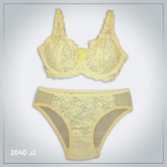 ست شورت و سوتین زنانه مدل 2040 زرد